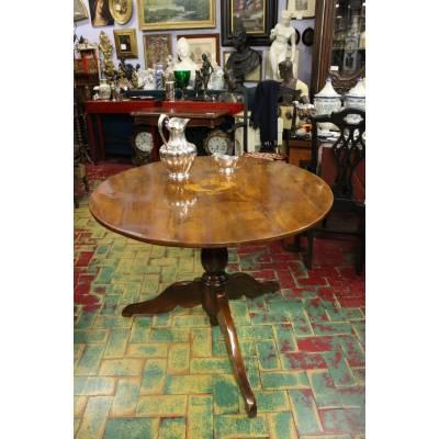 Antico Tavolo Rotondo Carlo X In Noce Intarsiato Con Cornucopie 1850 Ca Ebay