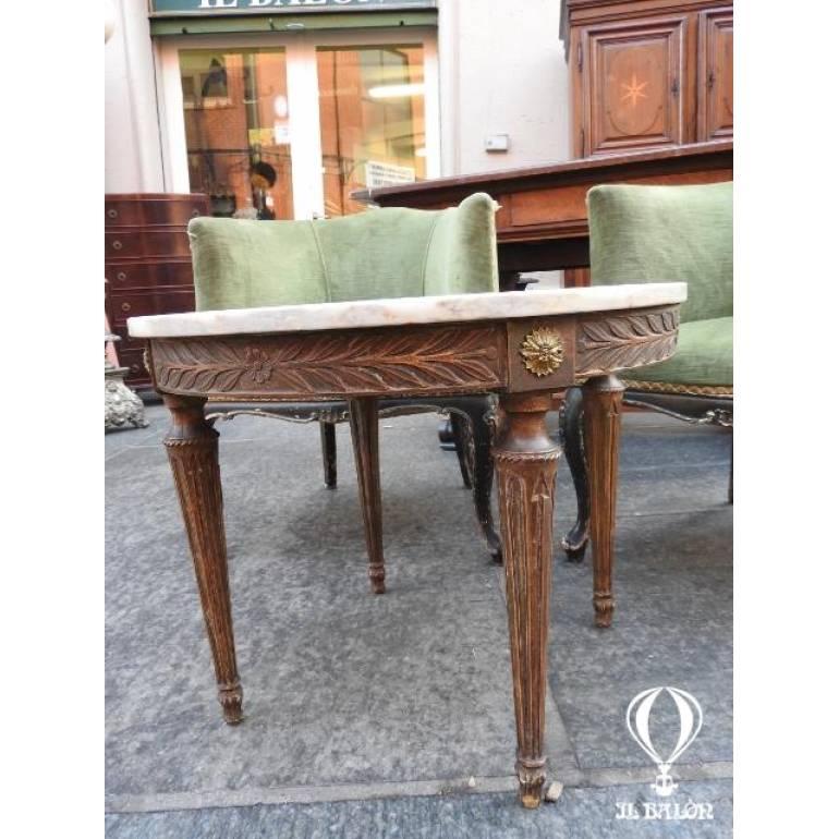 Tavolino Rotondo Da Salotto Antico.Rotondo In Legno Dorato Con Piano Marmo Bianco Epoca 900