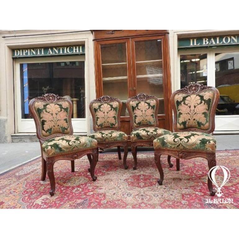 Tessuti Per Sedie Antiche.Antiche Sedie In Noce Massello Epoca Tessuto Damasco Epoca