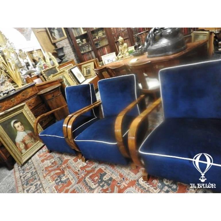 Originali Poltrone Art Deco Radica Di Noce Velluto Blu Anni