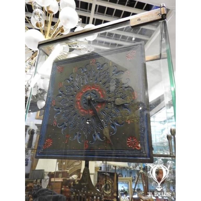 Originale orolgio a pendolo fine 800 entro colonna in vetro ...