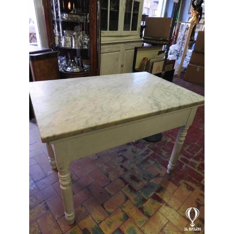 Tavoli Antichi Da Cucina Con Marmo.Antico Tavolo Da Cucina Del 900 Con Piano Marmo Bianco