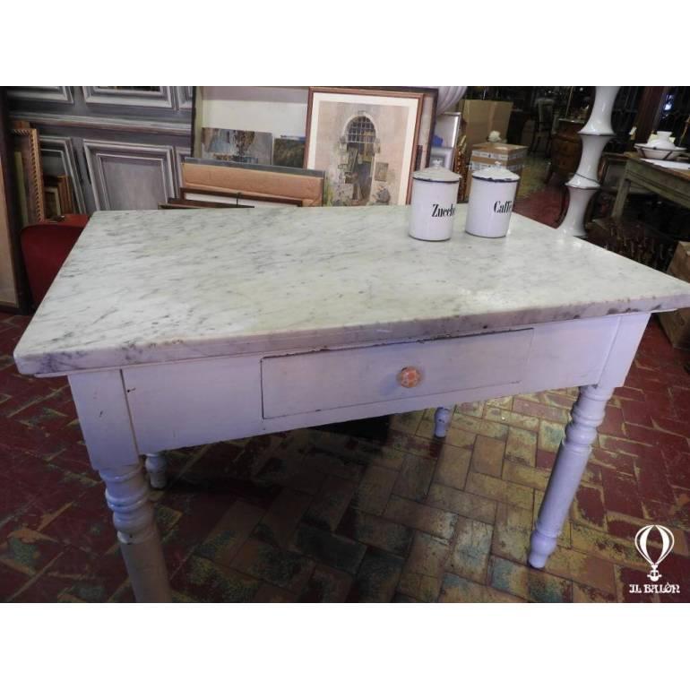 Antico tavolo da cucina dell\\\'800 con piano marmo bianco ...