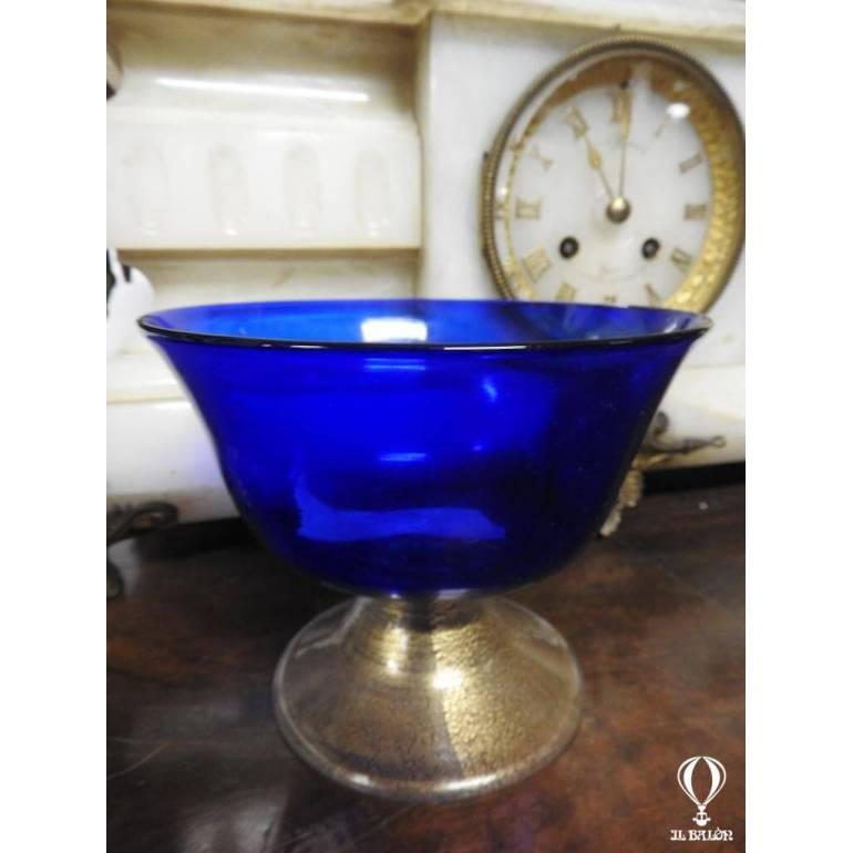 Coppa in vetro d\\\'arte blu fondo pagliuzze oro Murano La ...