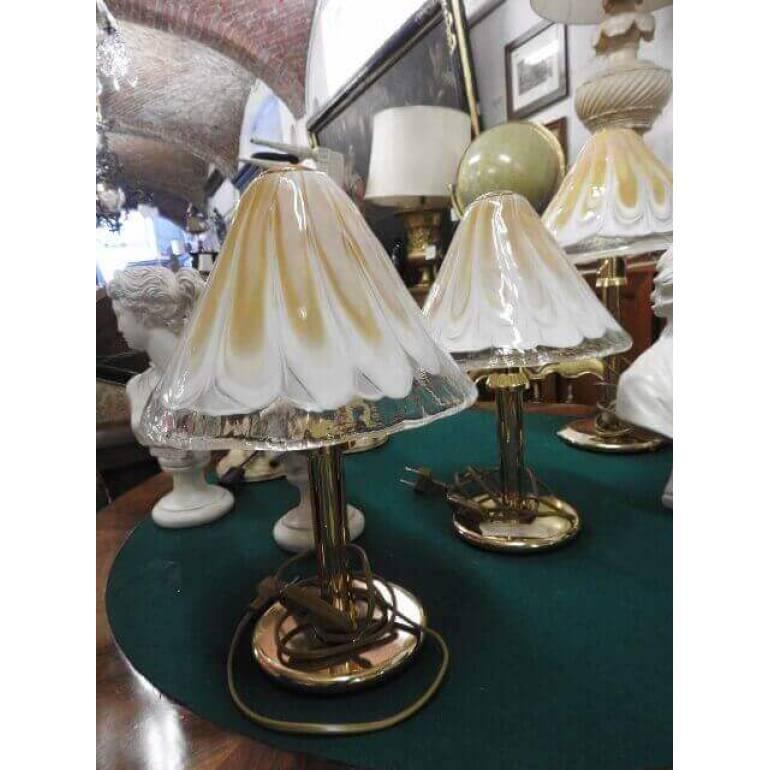Coppia di lampade da tavolo La Murrina color ambra   il Balon