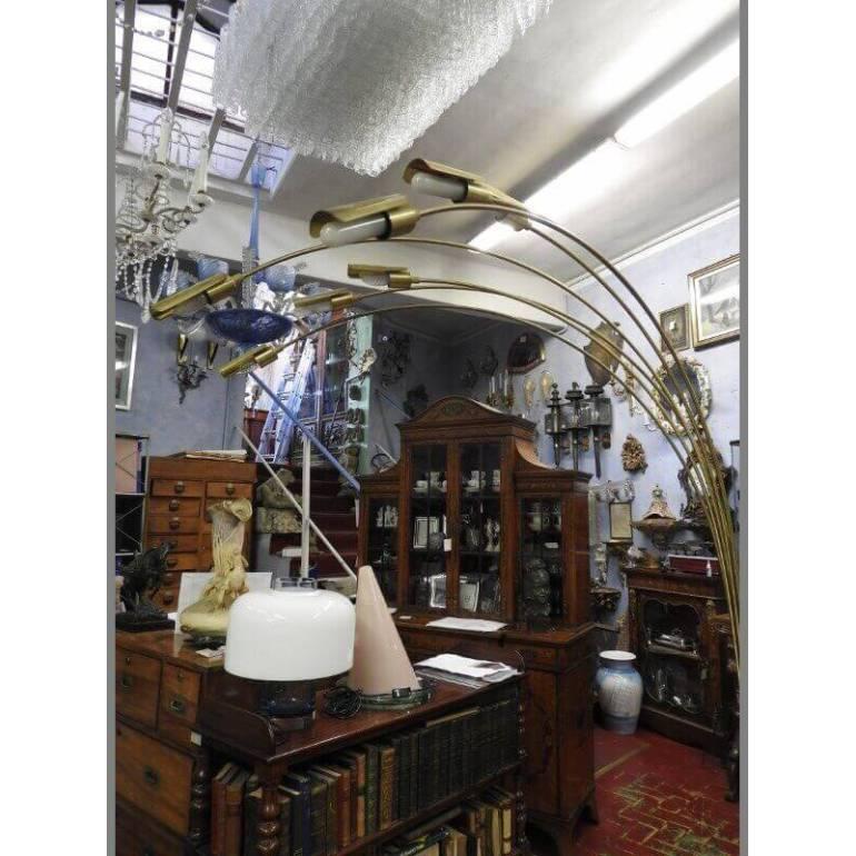 Lampada Da Terra Ad Arco Dorata Anni 50 Design Italia Il Balon