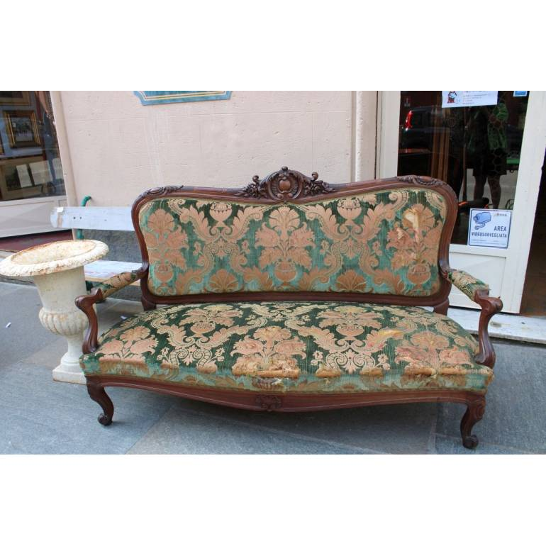 Antico divano sofa' in legno di noce intagliato epoca fine ...